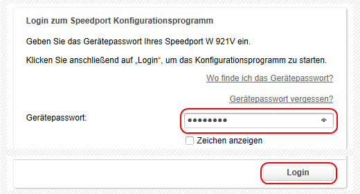 Speedport W 921V Login zum Speedport Konfigurationsprogramm