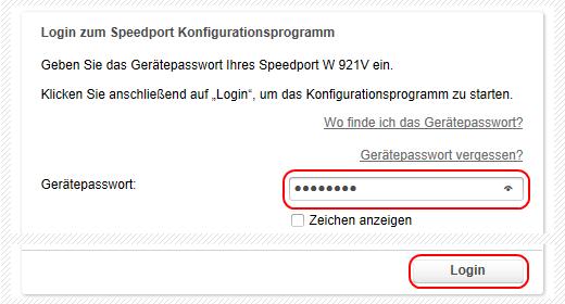 Speedport W 921V Login zum Speedport Konfigurationsprogramm