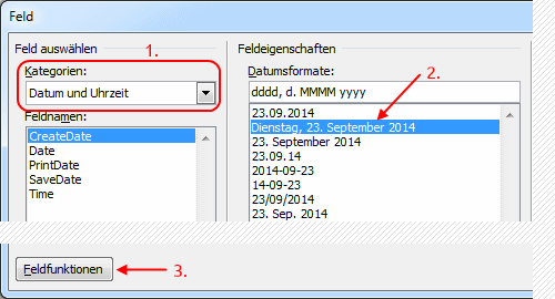 Word Serienbrief Feld Datumsformate