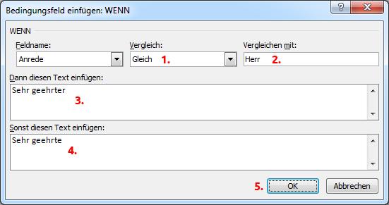 Word Serienbrief Wenn-Dann-Sonst-Regel anwenden
