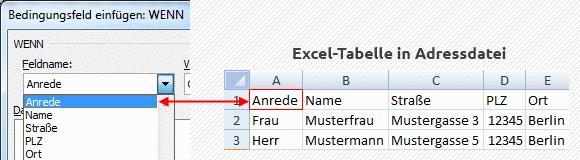 Word Serienbrief Wenn-Dann-Sonst-Regel Feldnamen wählen