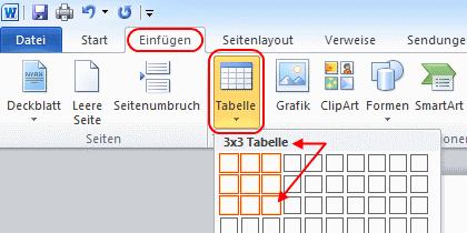 Word 2010 Tabelle anlegen