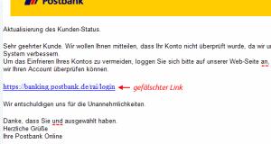 Postbank Aktualisierung des Kunden-Status