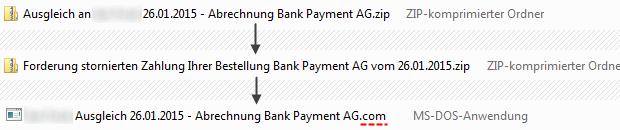 SPAM Bank Payment AG Anlage enthält ein Programm