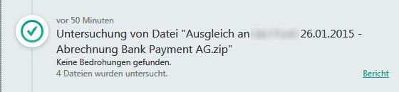 SPAM Bank Payment AG zip-Anlage keine Bedrohung gefunden