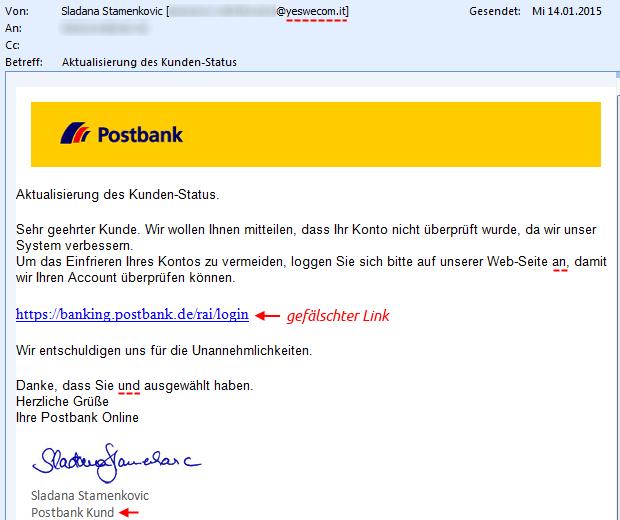SPAM: Postbank - Aktualisierung des Kunden-Status