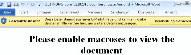 SPAM: Rechnungsnr. 24112014-278 enthält Word-Makros