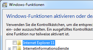 "Windows 7: Funktion ""Internet Explorer"" deaktivieren"