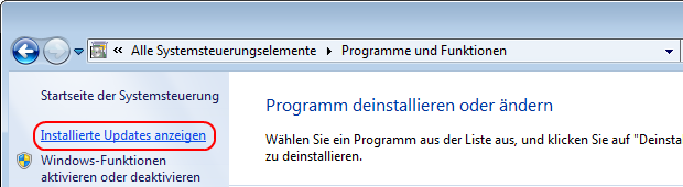 Windows 7 installierte Updates anzeigen
