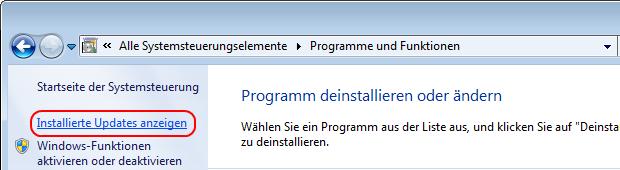 Windows 7 installierte Updates anzeigen