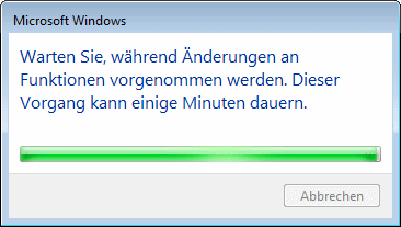 """Windows 7 """"Internet Explorer deaktivieren"""" Fortschrittsbalken"""