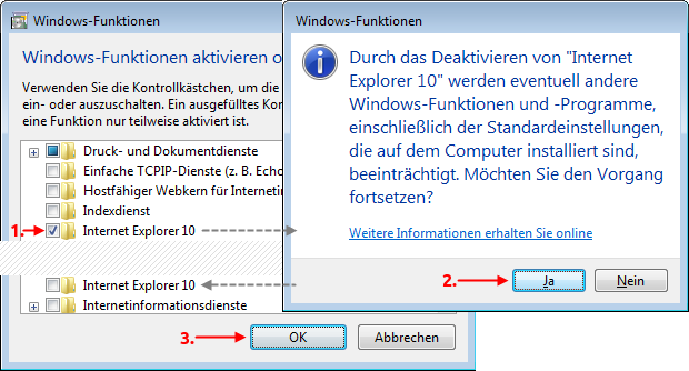 Windows 7 Internet Explorer deaktivieren