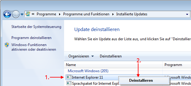 Windows 7 Internet Explorer deinstallieren