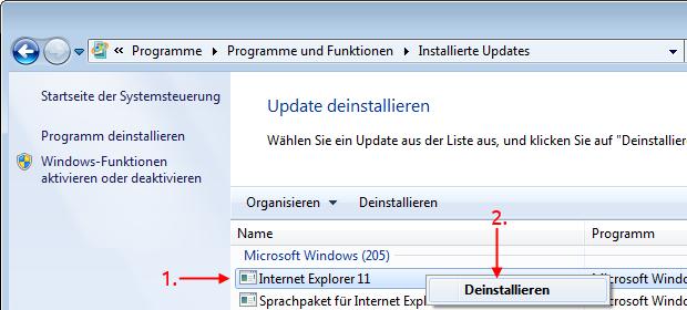 Windows 7 Internet Explorer deinstallieren