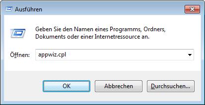 Windows 7 Programme und Funktionen aufrufen