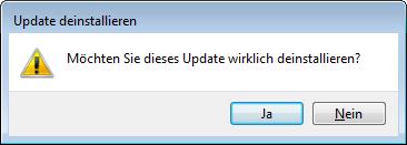 Windows 7 Sicherheitsabfrage Update deinstallieren