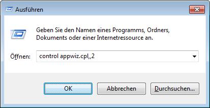 Windows 7: Windows-Funktionen aktivieren oder deaktivieren aufrufen