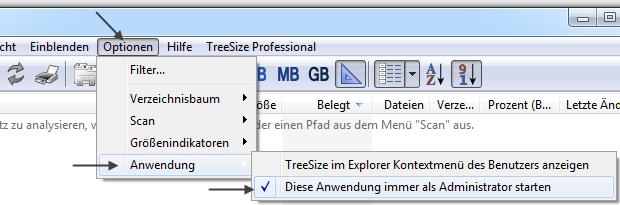 TreeSize Free immer als Administrator starten