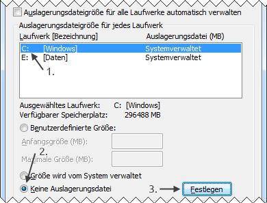 Windows 7 alte Auslagerungsdatei deaktivieren