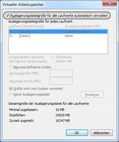 Windows 7 Auslagerungsdatei automatisch verwalten