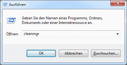 Windows 7 cleanmgr aufrufen