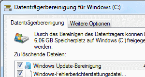 Windows 7 Datenträgerbereinigung