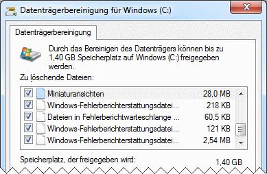 Windows 7 Datenträgerbereinigung Benutzerkonto
