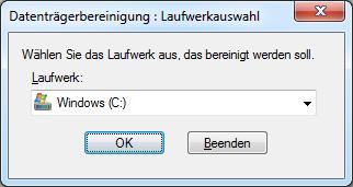 Windows 7 Datenträgerbereinigung: Laufwerkauswahl