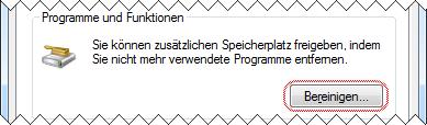 Windows 7 Datenträgerbereinigung Programme und Funktionen aufrufen
