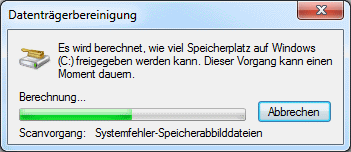 Windows 7 Datenträgerbereinigung Scanvorgang