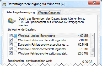 Windows 7 Datenträgerbereinigung systemweit