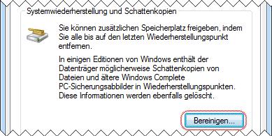 Windows 7 Datenträgerbereinigung Systemwiederherstellung bereinigen