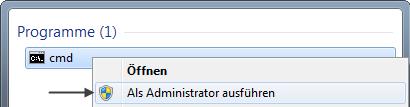Windows 7 Eeingabeaufforderung-als Administrator aufrufen
