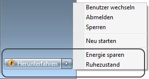 Windows 7 Energiesparmodus, Ruhezustand und Herunterfahren