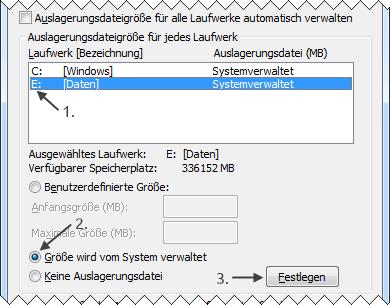 Windows 7 neue Auslagerungsdatei anlegen