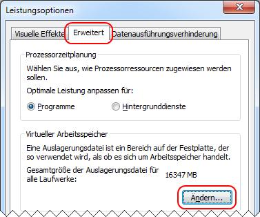 Windows 7 Verwaltung der Auslagerungsdatei aufrufen