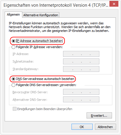 Windows 8.1 Eigenschaften von Internetprotokoll Version 4