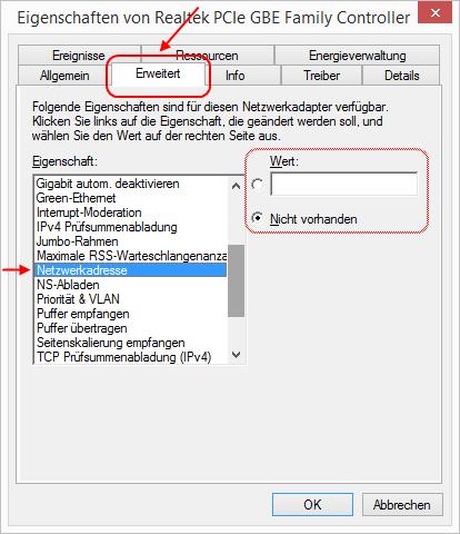 Windows 8.1 Ethernet-Adapter erweiterte Eigenschaften Netzwerkadresse