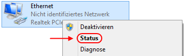 Windows 8.1 Ethernet-Adapter Status anzeigen