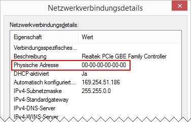 Windows 8.1 Ethernet Physische Adresse 00-00-00-00-00-00