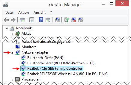 Windows 8.1 Geräte-Manager Netzwerkadapter Ethernet