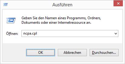 Windows 8.1 Netzwerkverbindungen mit ncpa.cpl aufrufen