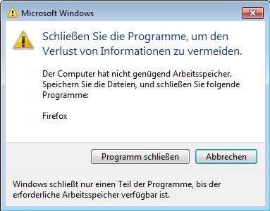 Windows Arbeitsspeicher voll