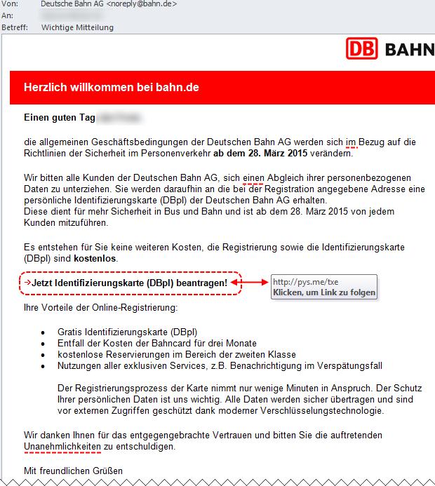 SPAM: Deutsche Bahn AG Identifizierungskarte (DBpI)