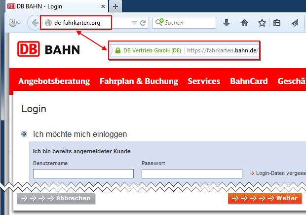 SPAM: Deutsche Bahn AG Phishing Login-Seite