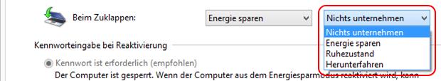 Windows 8.1 Aktion beim Notebook Zuklappen ändern