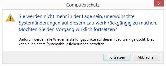 Windows 8.1 alle Wiederherstellungspunkte löschen