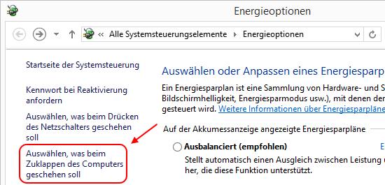 Windows 8.1 Energieoptionen: Auswählen was beim Zuklappen des Computers geschehen soll