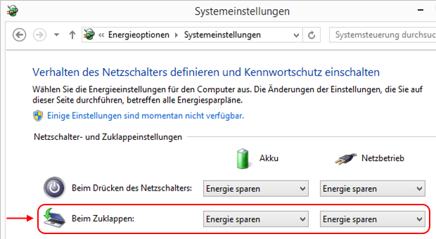 Windows 8.1 Energieoptionen Systemeinstellungen
