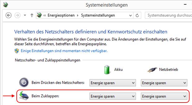 Windows 8.1 Energieoptionen Systemeinstellungen